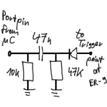 Scheme to connect µController-pin with ER-9 triggerpoint of voicecard